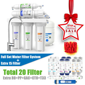 5 Stage Reverse Osmosis Home Drinking Water Filter System Purifier Extra Filters