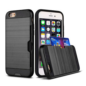 Ibrida-Gomma-Anti-urto-Portafoglio-Tasca-carta-Custodia-Cover-For-iPhone-6-6S-7