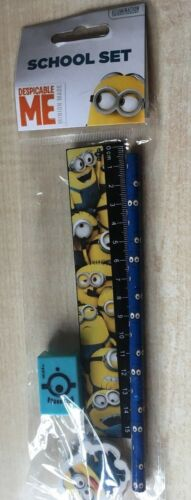 New Despicable Me Minions School Set Stationery Ruler Pencil Eraser Sharpener