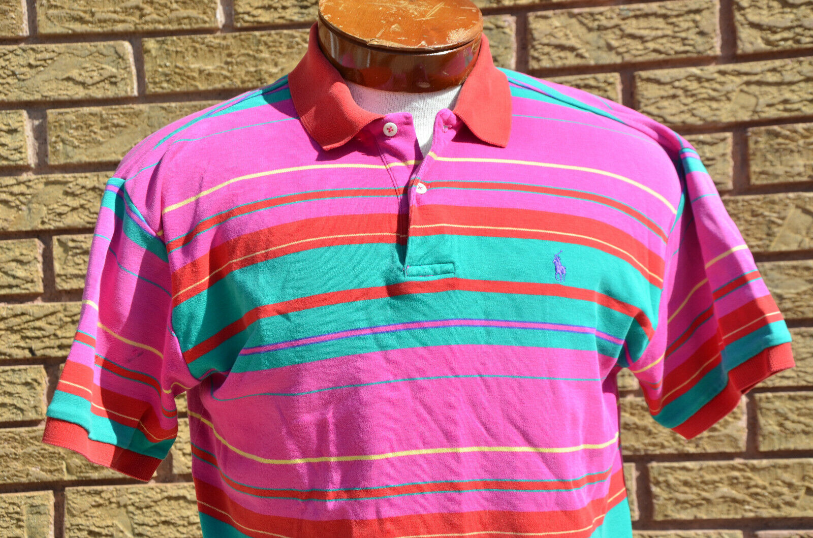 Vtg 80s 90s Neon Ralph Lauren Rugby Polo Shirt M/… - image 2