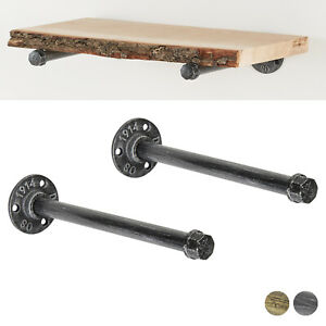 """INDUSTRIAL PIPE BRACKET PAIR Heavy Iron Shelf Support High Quality Flange 1//2/"""""""
