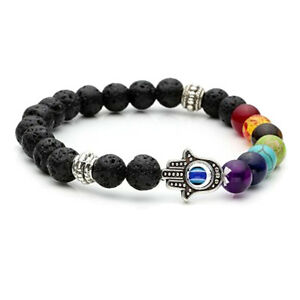 UK-Beautiful-Lava-Stone-Chakra-7-Crystal-Gemstone-Bead-Bracelet-Reiki-Healing-AG