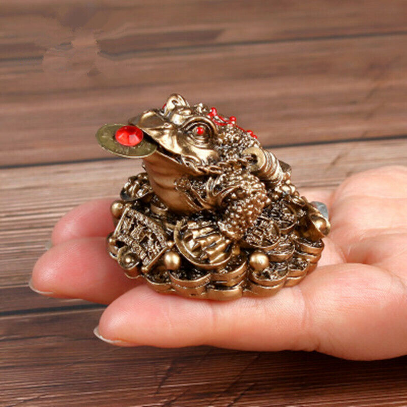 1Pc Feng Shui Toad Money LUCKY Fortune Wealth Chinese Golden Frog Toad OrnamALUK