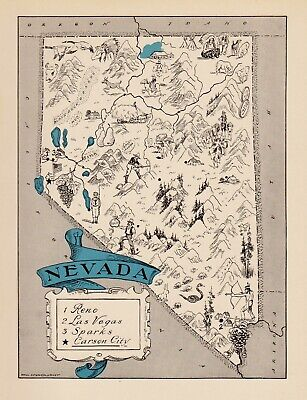 1930s Animated NEVADA State Map RARE Map Reprint Map of Nevada Wall Art usbl