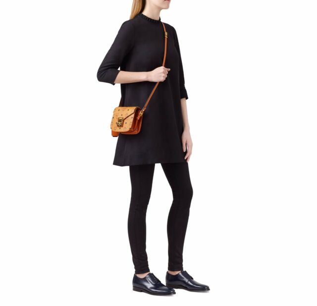 b5725af26 NEW MCM Patricia Visetos mini Shoulder crossbody purse Bag COGNAC TAN GOLD  $769