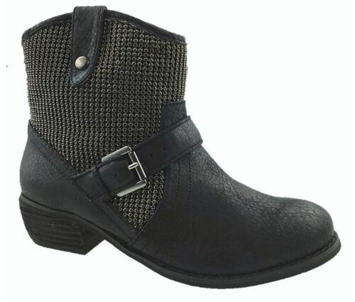 LADIES FAUX LEATHER ANKLE BIKER BOOTS BUCKLE STRAP SIDE ZIP BLACK SIZE UK 3-8