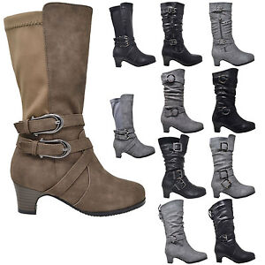 Kids-Mid-Calf-Boots-Girls-Toddler-Youth-Kitten-Heels-w-Buckle-Accents-Shoes