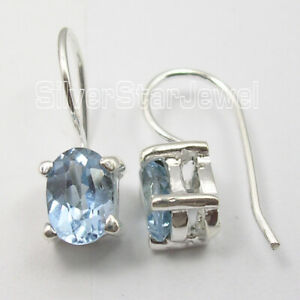 925-Stamp-Sterling-Silver-Faceted-Blue-Topaz-French-Wire-Earrings