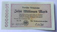 RARITÄT Zehn Millionen Mark 1923 Deutsche Reichsbahn KASSENFRISCH UNC (80)