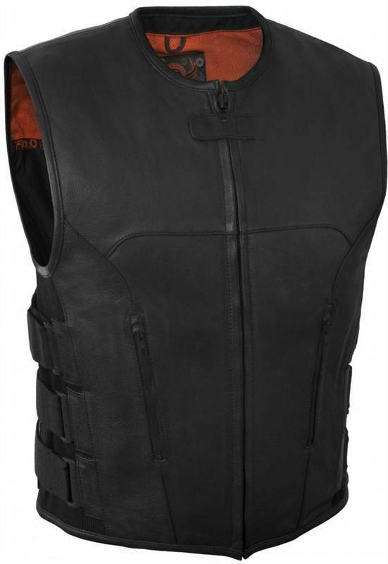 True Element  Herren Swat Team Style Leder Motorcycle Vest w/Side Adjust. (S-5XL)
