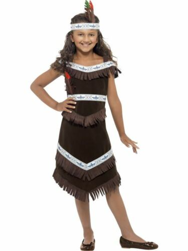 GIRLS RED INDIAN GIRL COSTUME NATIVE AMERICAN WILD WEST BROWN FANCY DRESS OUTFIT