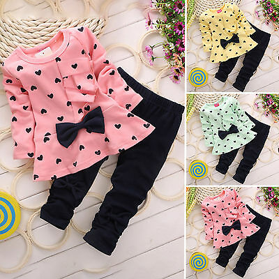 Kids Baby Girls Long Sleeve Heart Print Dress Tops + Pant 2Pcs Sets Outfits 1-5Y