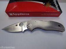 "Spyderco Native 5 Knife 3"" Plain Edge S35VN SS Blade, Fluted Titanium - C41TIFP5"