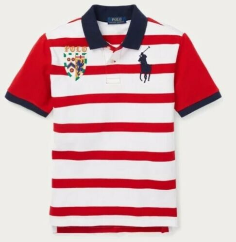 NWT POLO RALPH LAUREN BIG PONY LION STRIPED RUGBY SHIRT RED