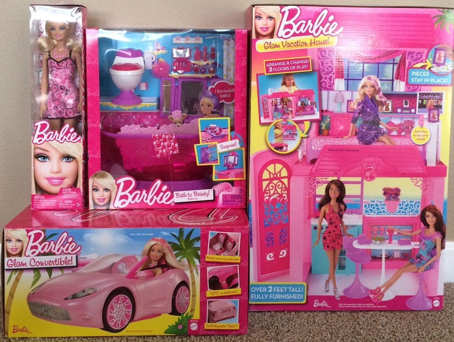 Muñeca Barbie Glam Auto Converdeible casa de vacaciones conjunto de muñeca de baño ASEO bañera