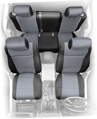 2008-2012 Jeep Wrangler Unlimited 4 Door Neoprene Seat Covers Set Black & Gray