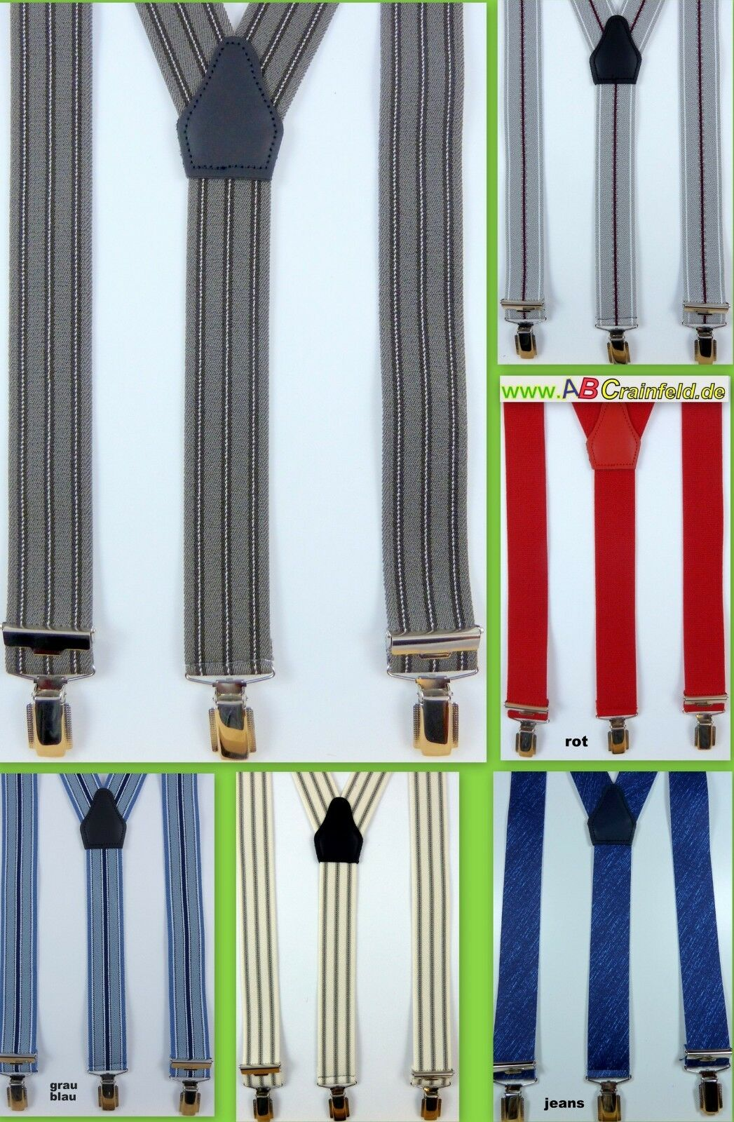Hosenträger mit drei Klips,viele Design´s, 35 mm breit,Y-Hosenträger,120 cm lang