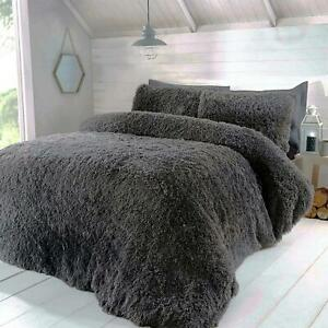 LUXURY FAUX FUR CHARCOAL GREY KING SIZE DUVET COVER