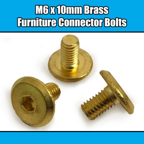 M6 x 10mm Solid BRASS Furniture Connector Bolts Flat Hex Drive Joint Bed Cot
