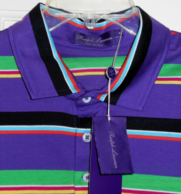 NEW $325 Ralph Lauren Purple Label Striped Polo Shirt~XL~SAVE $180~Made in Italy