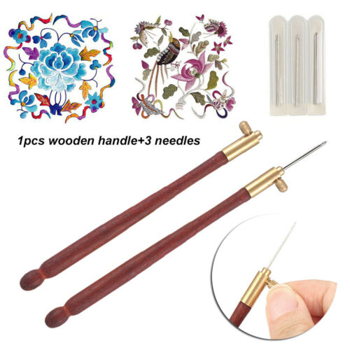 Tambour Hook with 3 Needles 70 100-120 Embroidery Beading Crochet Tool Kit Set