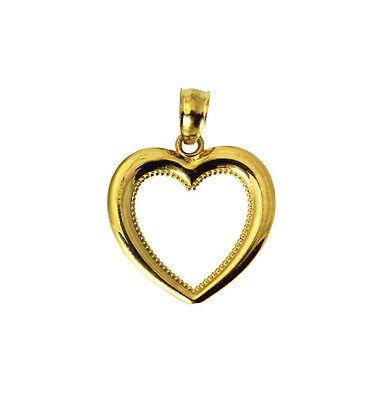 14K Yellow Gold Small Light Key to my Heart Love Charm Pendant Cubic Zirconia
