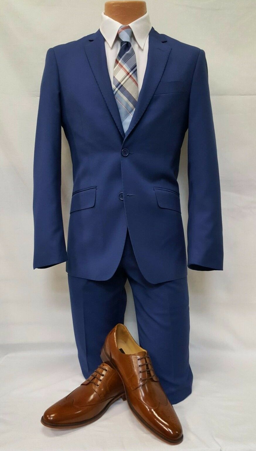 New Mens French Royal bluee Formal 2 Piece Casual Slim Fit Tuxedo Suit TUXXMAN