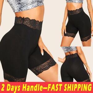 Women-039-s-High-Waist-Lace-Fitness-Bike-Shorts-Soft-Stretch-Leggings-Workout-Yoga