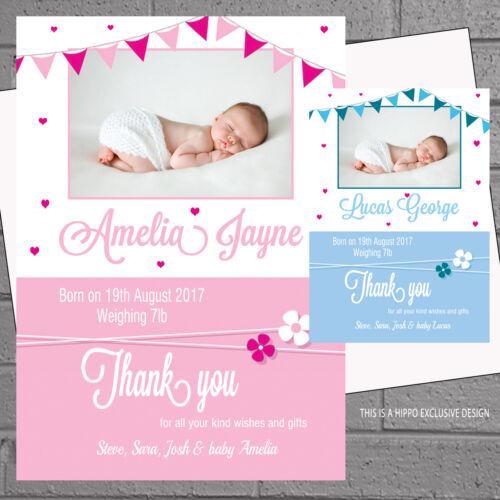 Garçons Filles Bébé Naissance nouveaux bébés annonce merci cartes X 12 Envs H0344