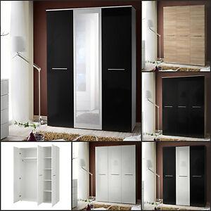 Top garderobe schlafzimmer schrank kleiderschrank 3 t rig hochglanz spiegel top ebay - Keine spiegel im schlafzimmer ...