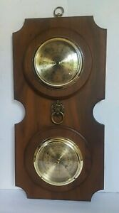 Vintage-Springfield-Weather-Station-Barometer-amp-Thermometer-Brass-Lions-Head