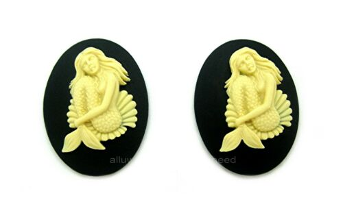 2 IVORY color SULTRY MERMAID Sitting in a Shell on BLACK 40mm x 30mm CAMEOS
