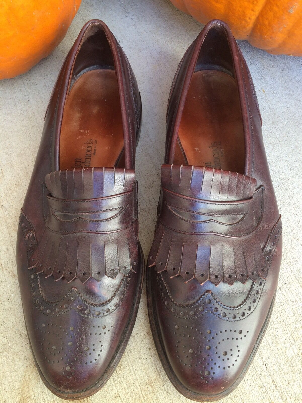 Allen Edmonds Wakefield Bourgogne marron cuir Tassel Loafers Chaussures Sz 11 M
