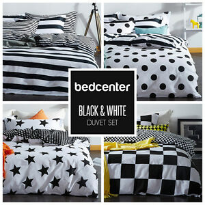 Black White Duvet Cover Set Twin Queen King Bedding Set 100 Cotton