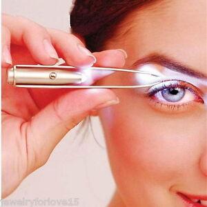 FL-LED-Pinzette-Augenbrauen-Wimpern-Nasenhaare-Verlangerung-Pinzette-Werkzeuge
