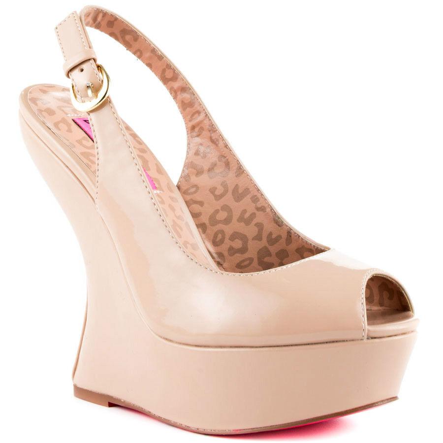 New in Box New Betsey Johnson MAKENNA bleush brevet Leopard Peep Toe Slingback Wedge