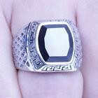 Men's Vintage Silver Stainless Steel Black CZ Ring Size 8-12 SR132