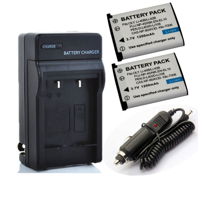 Li-ion Battery (2-Pack) + Charger for Fujifilm NP-45,NP-45A,NP-45B,NP-45S, NP45S