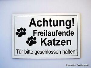 Stil; VertrauenswüRdig Achtung Freilaufende Katzen,gravur,schild,12 X 8 Cm,katzenschild,katze,neu Modischer In