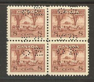 """Canada #O256, 1942 8c Farm Scene - War Issue """"OHMS"""" Perfin Official B4 Unused NH"""