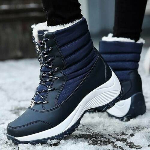 Womens Snow Ankle Boots Ladies Waterproof Winter Warm Fur Lined Shoes Size 3.5-8
