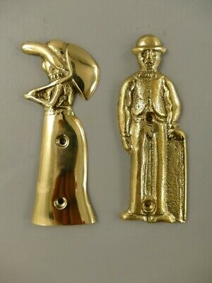 Door Plates 2 Toilet Signs Ladies And Men's IN Old Traditional Costumes, Brass   eBay