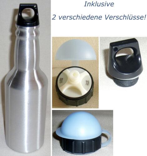2 Stk /& Ösen-Verschluss Qualitäts-Trinkflasche 0,6L mit Bauhelm Wasserflasche