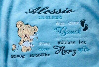 Spruch  20 Sprüche   zur Geburt oder Taufe Babydecke mit Namen Teddy