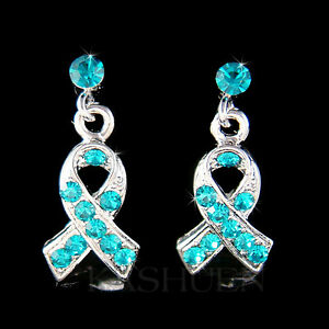 W Swarovski Crystal Teal Blue Ovarian Cervical Cancer