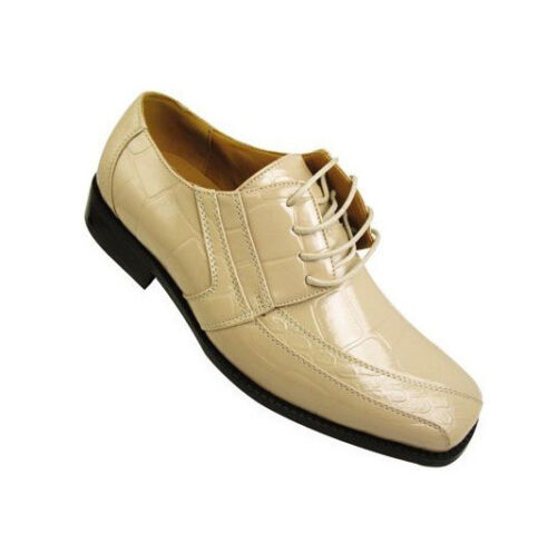 Men/'s Oxford Faux Leather Croco-Embossed Dress Shoes Lilac Pink Tan Size 8.5-16