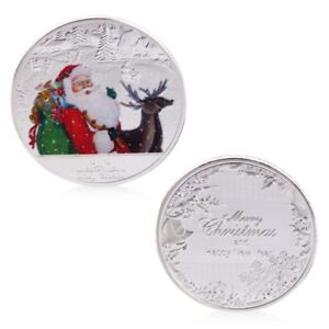 Merry Christmas Santa Claus Deer New Year Commemorative Coin New Gift Souvenir
