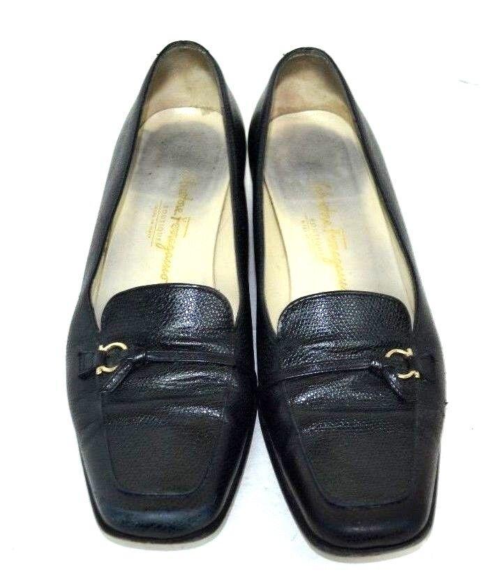 SALVATORE FERRAGAMO BLACK GENUINE LEATHER Womens shoes SIZE 7.5 AA