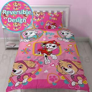paw patrol f r immer einzelbettbezug set m dchen kinder pink wendbare bettw sche ebay. Black Bedroom Furniture Sets. Home Design Ideas