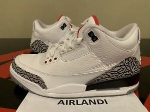 cheap for discount 4c351 9d316 Details about 2011 NIKE AIR JORDAN RETRO 3 WHITE CEMENT SIZE 9 BLACK FIRE  RED 136064105